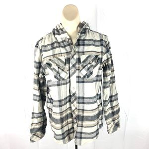 O'Neill Long Sleeve Hooded Flannel Size Large